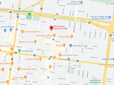 Map to got to Bentley Consulting in Fitzroy